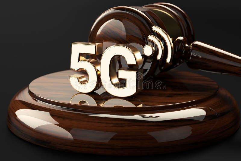 Marteau de juge et symbole 5G Concept à grande vitesse de réseau et de questions juridiques rendu 3d illustration libre de droits
