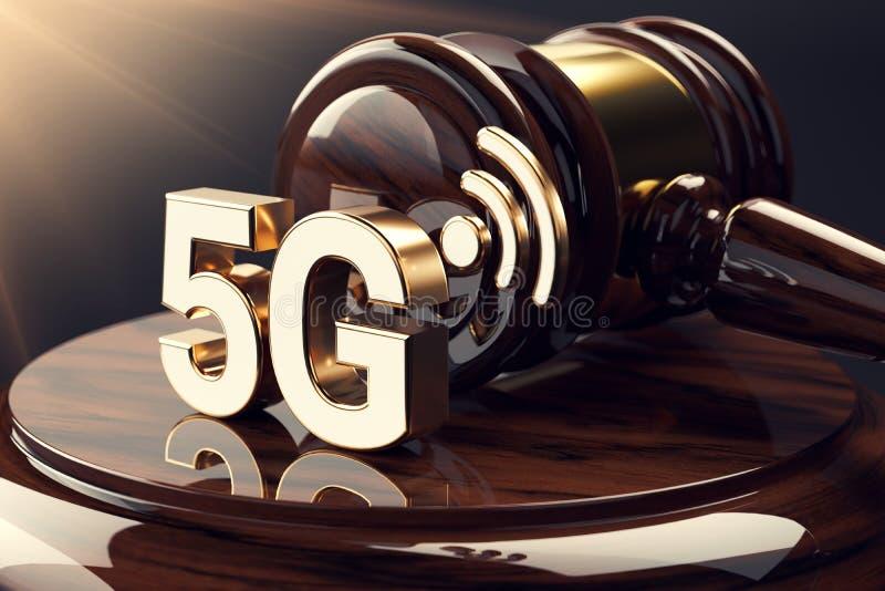 Marteau de juge et symbole 5G Concept à grande vitesse de réseau et de questions juridiques rendu 3d illustration de vecteur