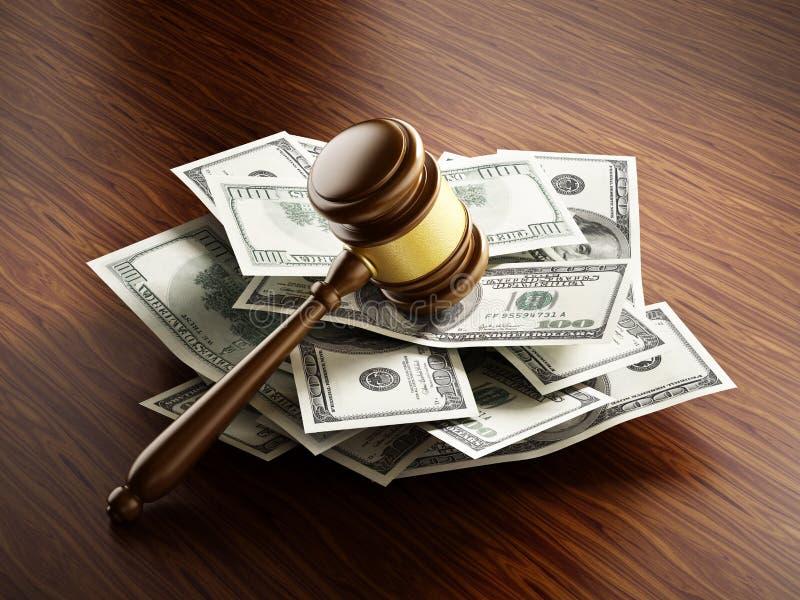 Marteau de juge sur la pile de monnaie fiduciaire des 100 dollars illustration libre de droits