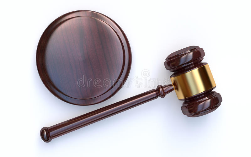 Marteau de juge sur le fond blanc photographie stock