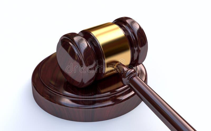 Marteau de juge sur le fond blanc photos stock