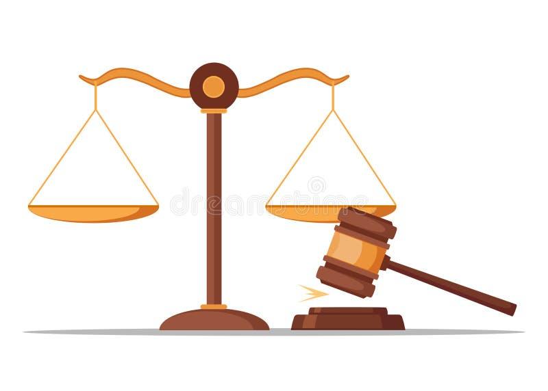 Marteau de justice d'isolement sur le fond blanc Jugez le marteau Vente aux enchères, cocept de juge Conception plate de vecteur illustration libre de droits