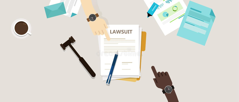 Marteau de papier de stylo de mains de procès sur le bureau illustration libre de droits