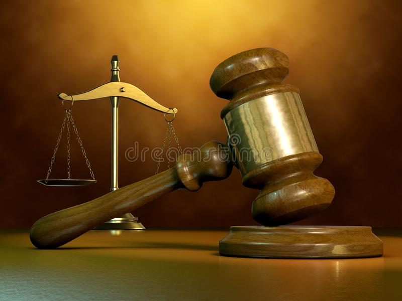 Marteau et échelle juridiques illustration de vecteur