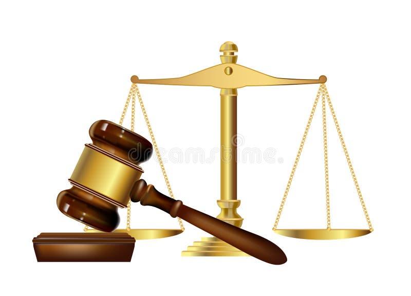 Marteau et échelles de justice illustration de vecteur