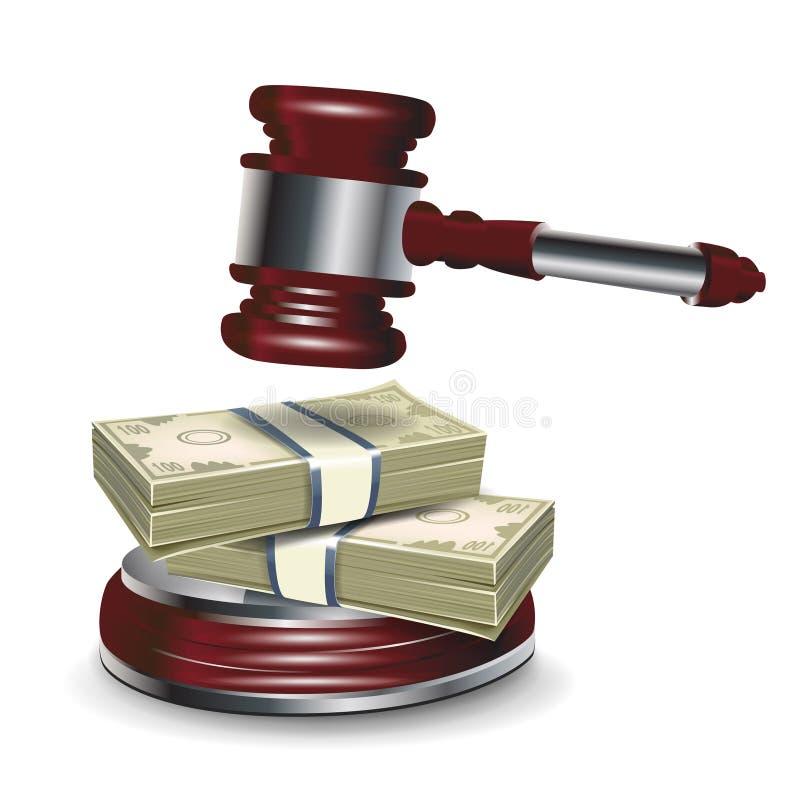Marteau et argent de juge illustration de vecteur