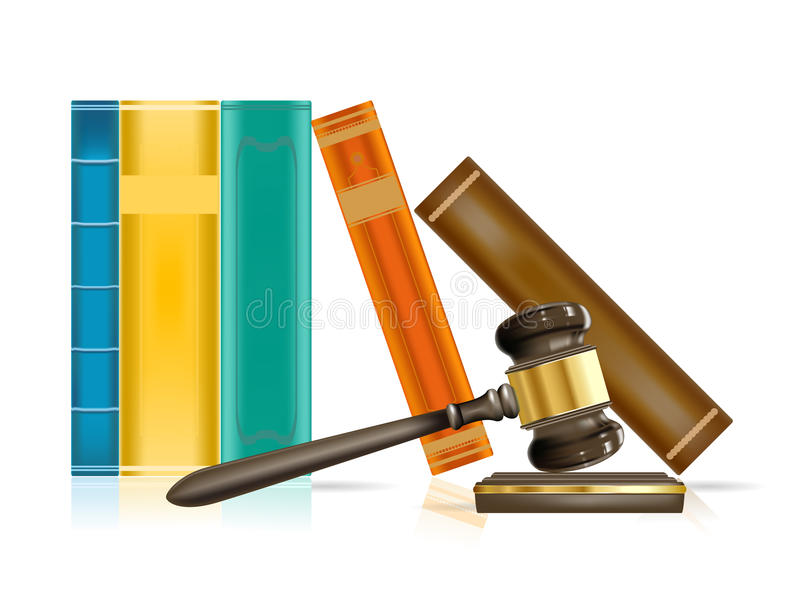 Marteau et livres de justice illustration libre de droits