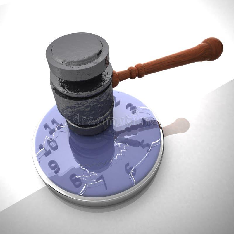 Marteau heurtant une horloge illustration libre de droits