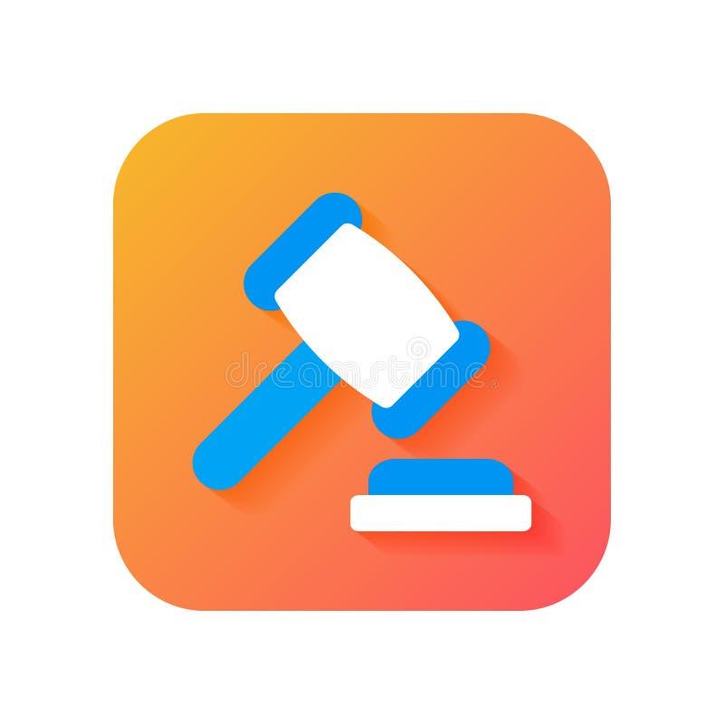 marteau, juridique, loi, icône de juge, icône moderne dans le style plat sur le fond de gradient Icône de vecteur pour tous buts illustration libre de droits