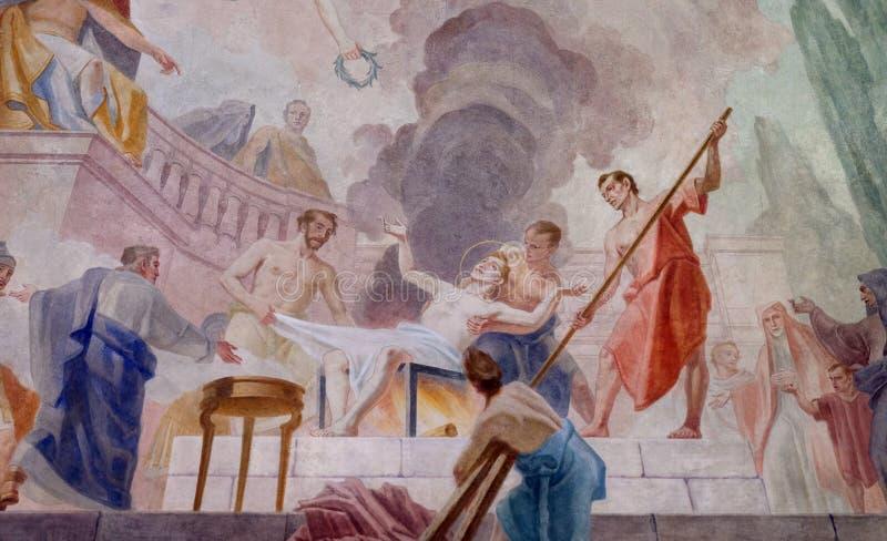 Martelaarschap van de Heilige Lawrence stock foto's