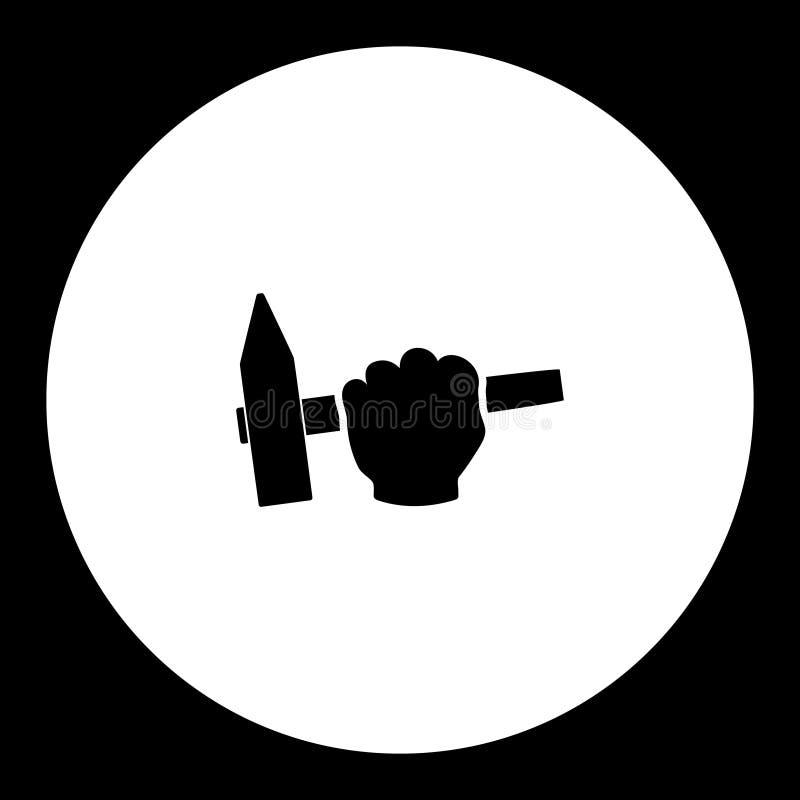Martele no ícone preto simples eps10 da ferramenta de funcionamento da mão do homem ilustração stock