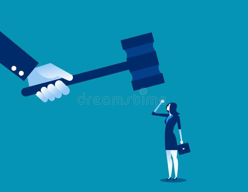 Martelletto battente del grande giudice sulla piccola donna di affari Illustrazione di vettore di affari di concetto illustrazione di stock