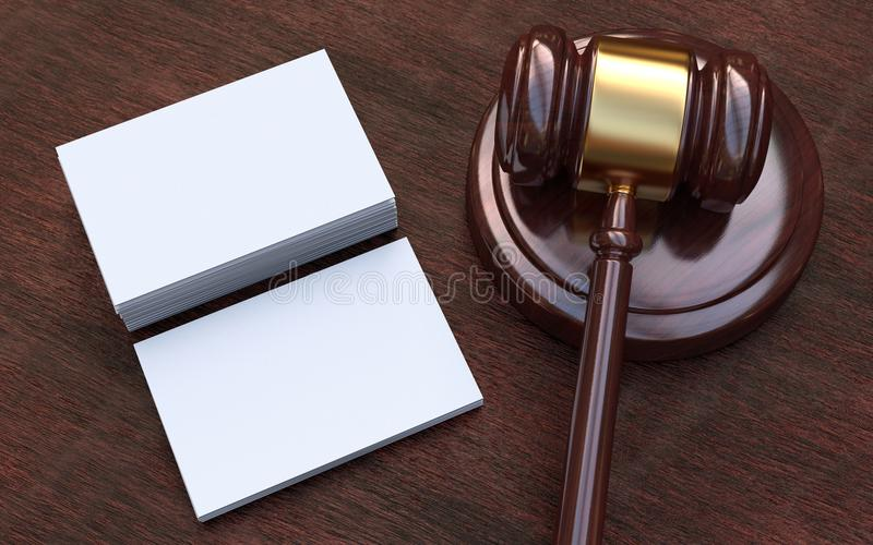 Martelletto del giudice, bianco, biglietti da visita in bianco fotografia stock
