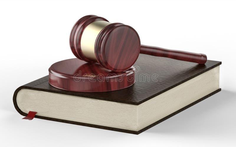 Martelletto del giudice sul fondo del libro di legge royalty illustrazione gratis