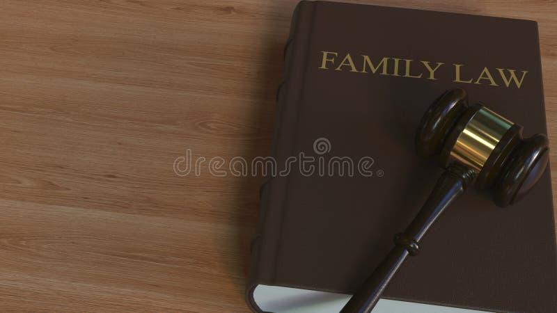 Martelletto della corte sul libro di DIRITTO DI FAMIGLIA Rappresentazione concettuale 3d illustrazione vettoriale