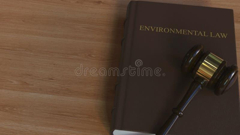 Martelletto della corte sul libro di LEGGE AMBIENTALE Rappresentazione concettuale 3d illustrazione vettoriale