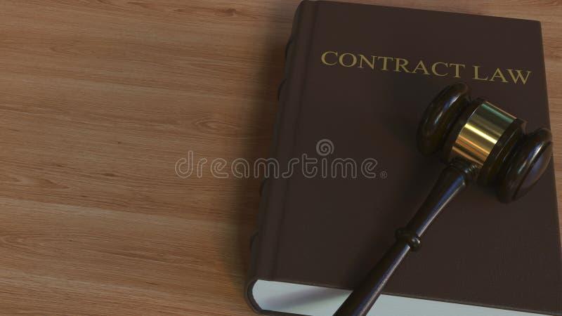 Martelletto della corte sul libro di LEGGE del CONTRATTO Rappresentazione concettuale 3d illustrazione di stock
