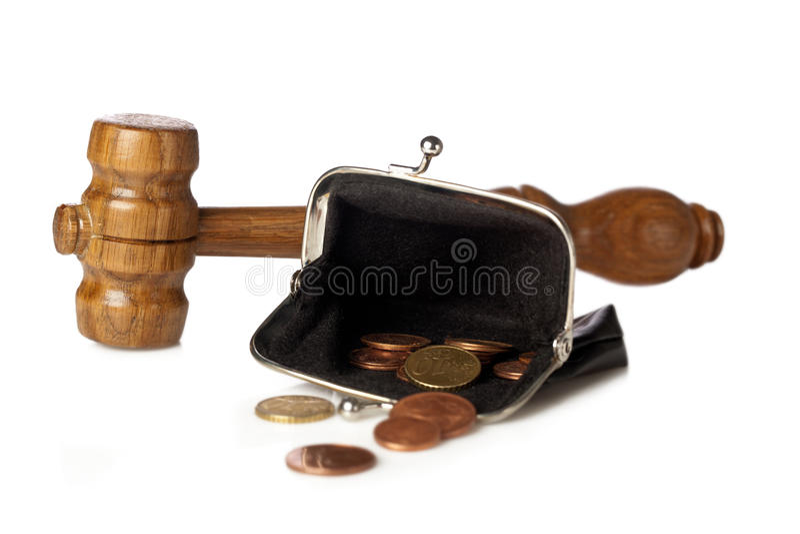 Martelletto e soldi fotografia stock