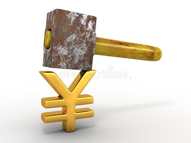Martelli con Yen del segno illustrazione di stock