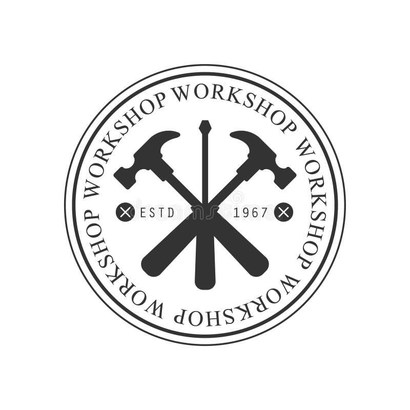 Martelli e cacciavite attraversati progettazione monocromatica di vettore del bollo della struttura del gruppo di lavoro di legno royalty illustrazione gratis