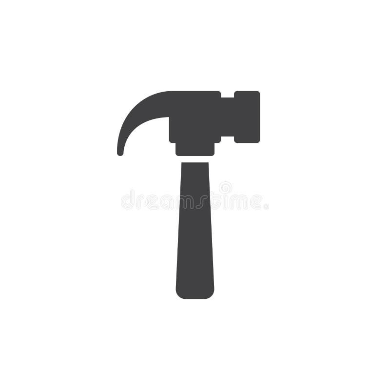 Martelli il vettore dell'icona, il segno piano riempito, pittogramma solido isolato su bianco illustrazione vettoriale