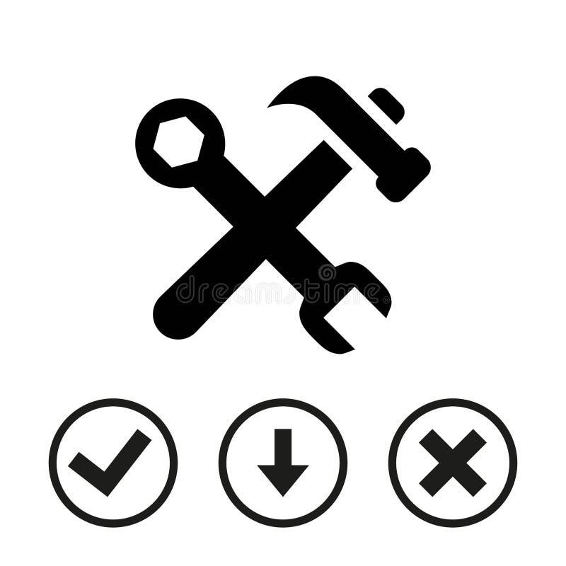 Martelli la progettazione piana dell'illustrazione di vettore delle azione dell'icona della chiave illustrazione vettoriale