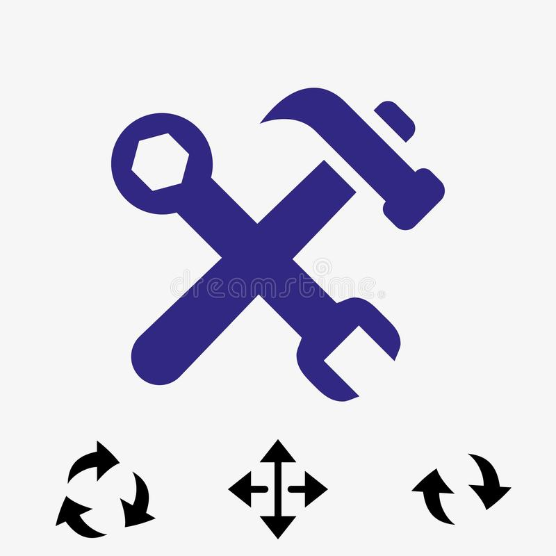 Martelli la progettazione piana dell'illustrazione di vettore delle azione dell'icona della chiave illustrazione di stock