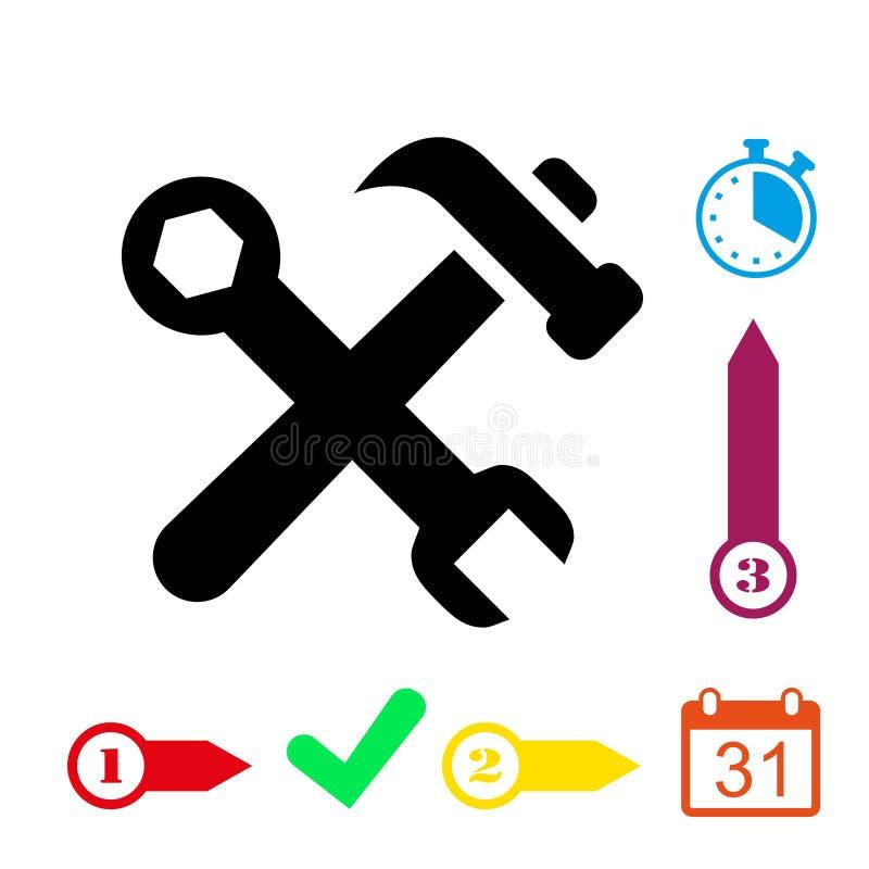 Martelli la progettazione piana dell'illustrazione di vettore delle azione dell'icona della chiave royalty illustrazione gratis