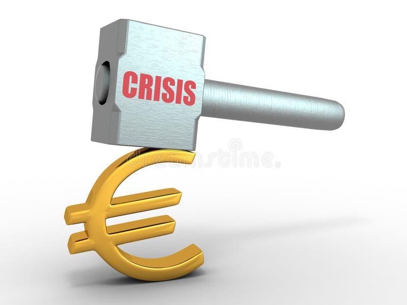 Martello con l'euro del segno illustrazione vettoriale