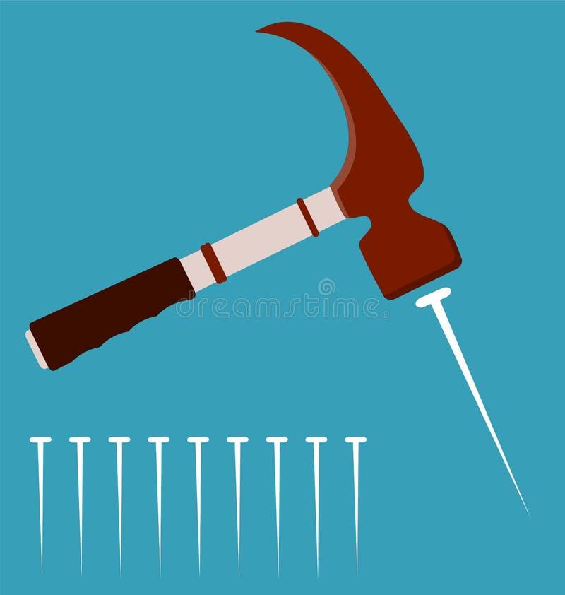 Martello da carpentiere con i chiodi d'acciaio illustrazione vettoriale