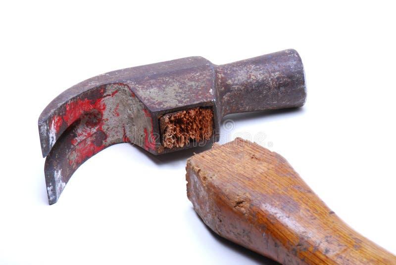 Martello da carpentiere rotto fotografie stock libere da diritti