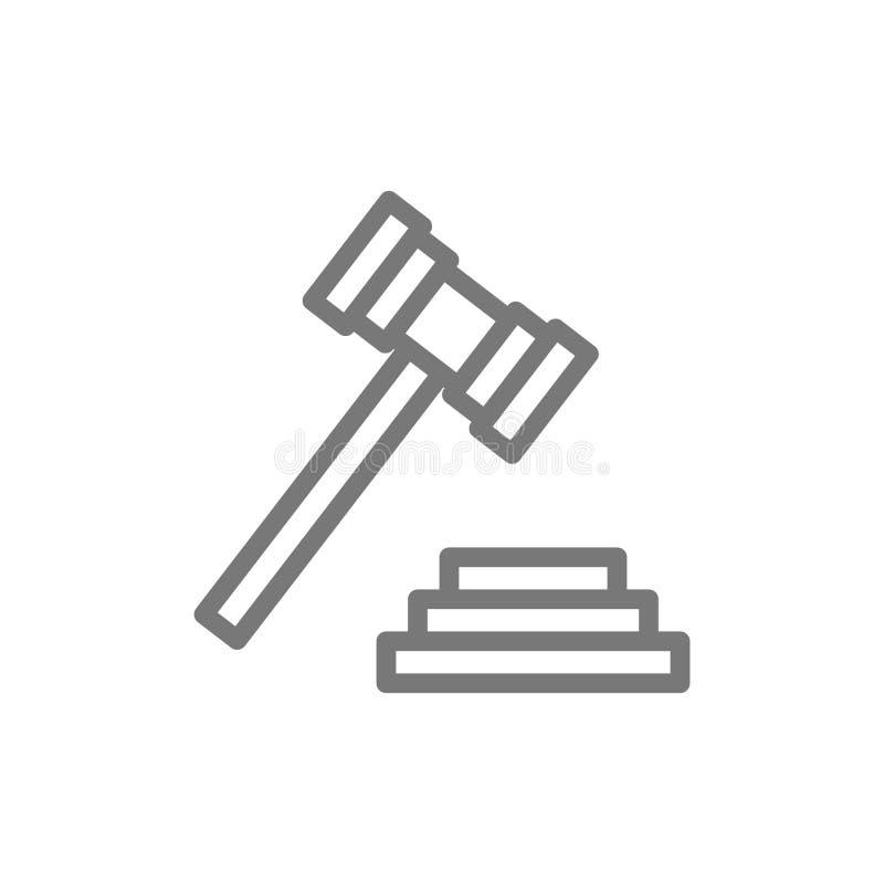 Martello dell'asta o del giudice, linea icona del martelletto della corte illustrazione di stock
