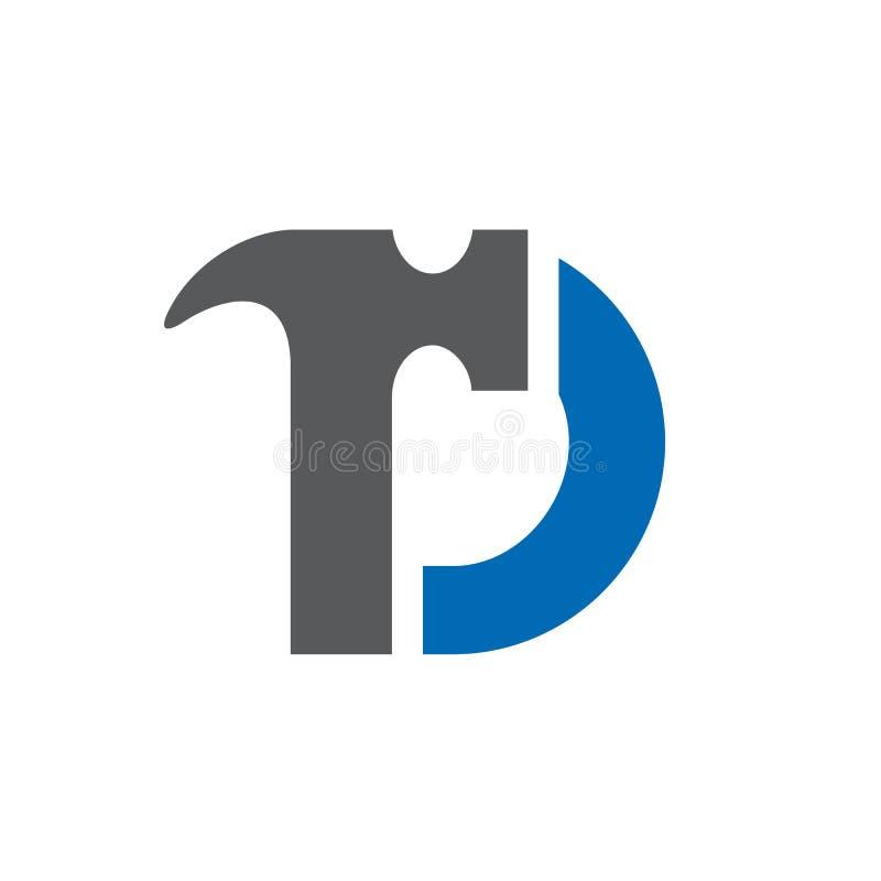 Martello della lettera d, riparazione domestica, logo domestico di rinnovamento illustrazione di stock