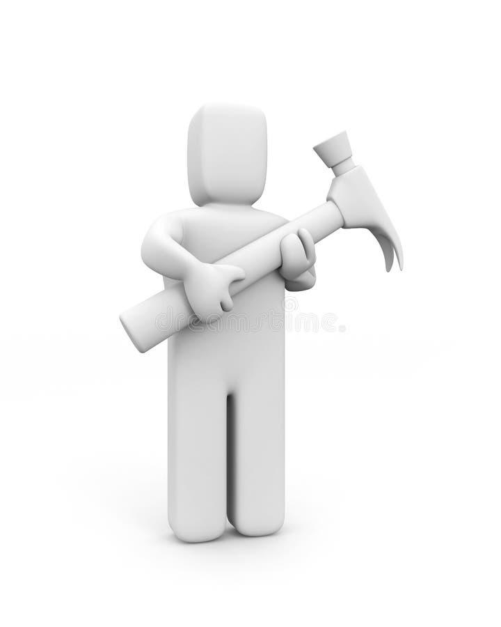 Download Martello Della Stretta Della Persona Illustrazione di Stock - Illustrazione di costruzione, appaltatore: 7314164
