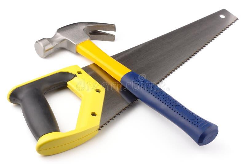 Martello e hand-saw fotografie stock libere da diritti