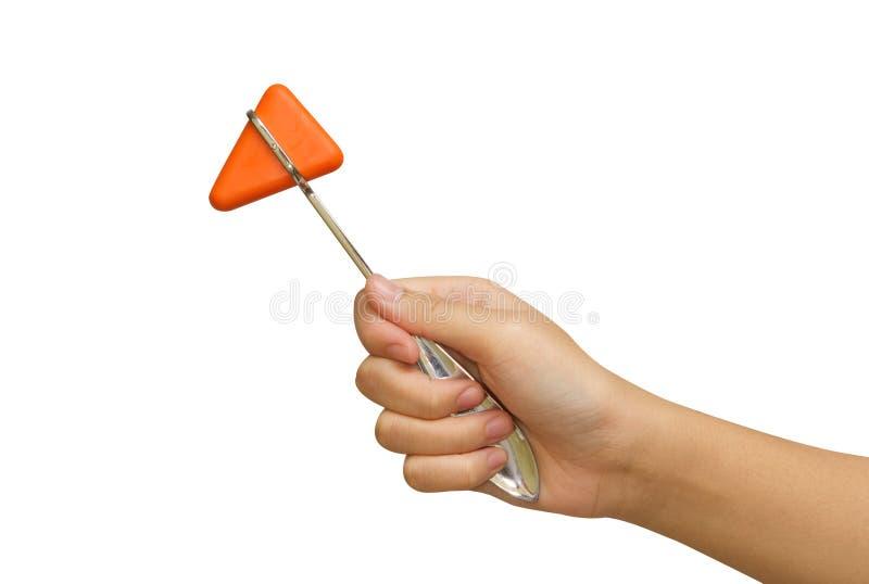 Martello riflesso arancio in mano di medico immagini stock libere da diritti