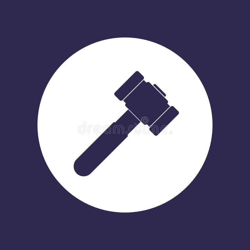 Martelo, ícone do malho no branco ilustração stock