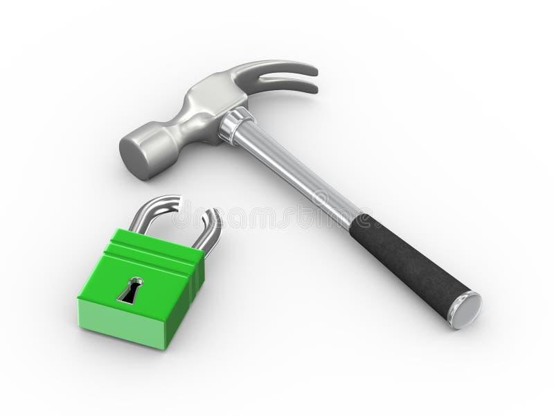 martelo 3d e cadeado quebrado ilustração royalty free