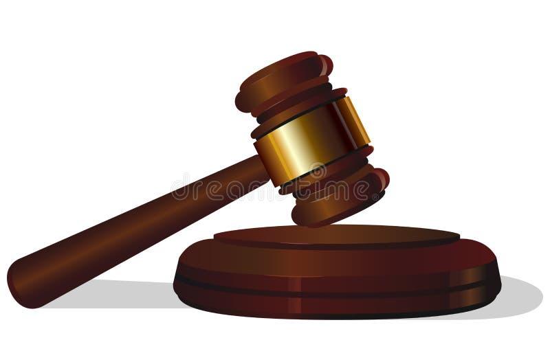 Martelo da corte de lei do leilão no fundo branco ilustração do vetor
