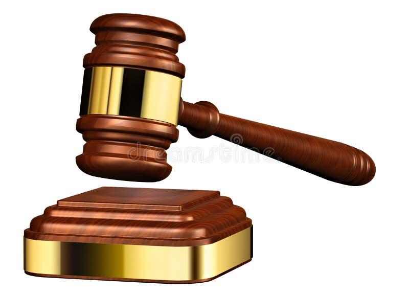Martelo de madeira do juiz ilustração do vetor
