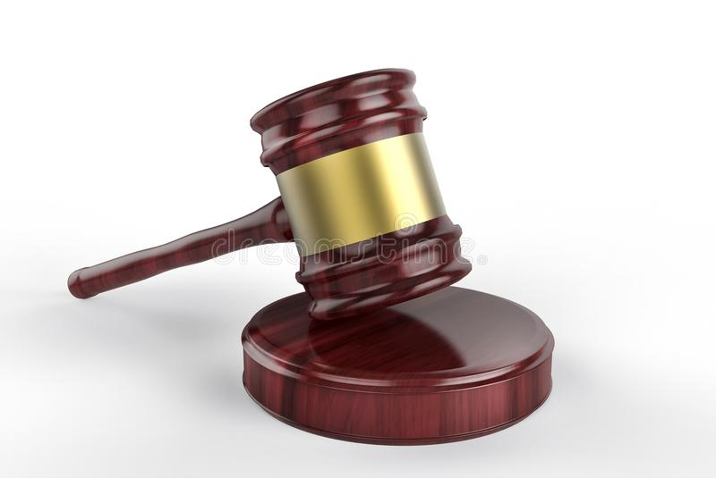 Martelo de madeira do juiz no branco ilustração do vetor