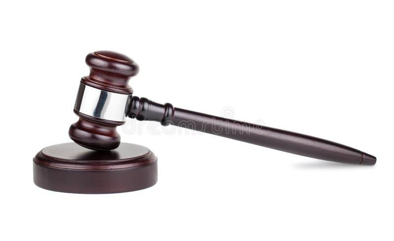 Martelo de madeira marrom dos juizes foto de stock