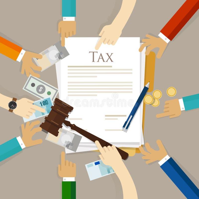 Martelo do martelo da lei fiscal com corte do dinheiro e do papel do rendimento financeiro da disputa ilustração stock