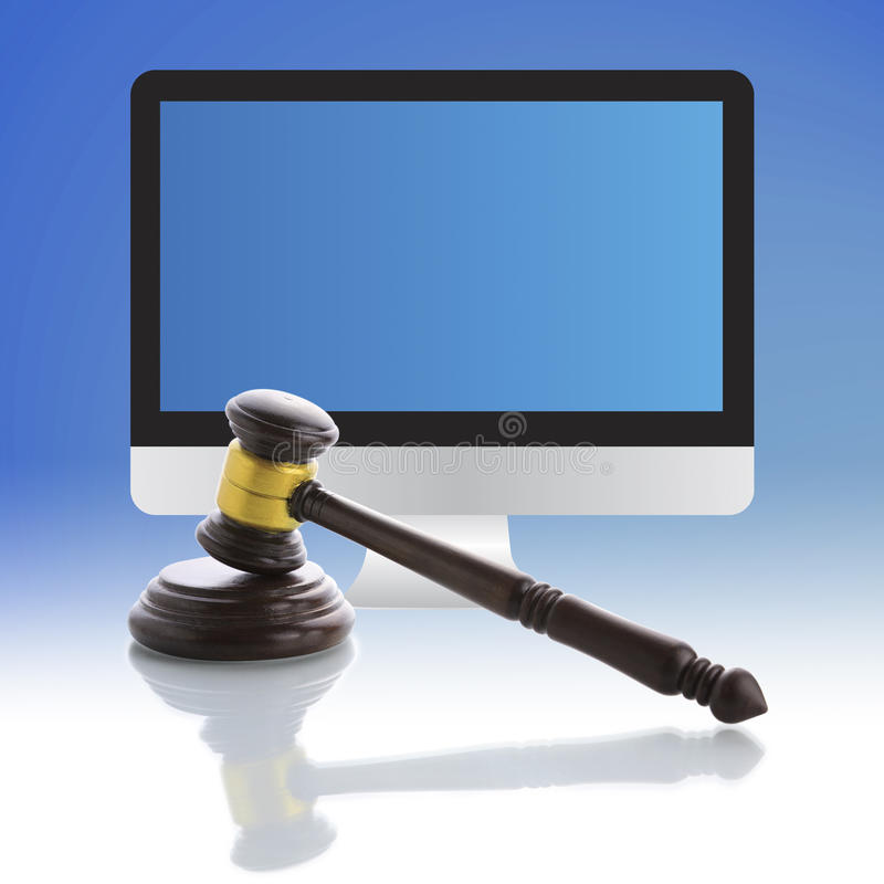 Martelo do juiz, leilão do Internet fotografia de stock royalty free