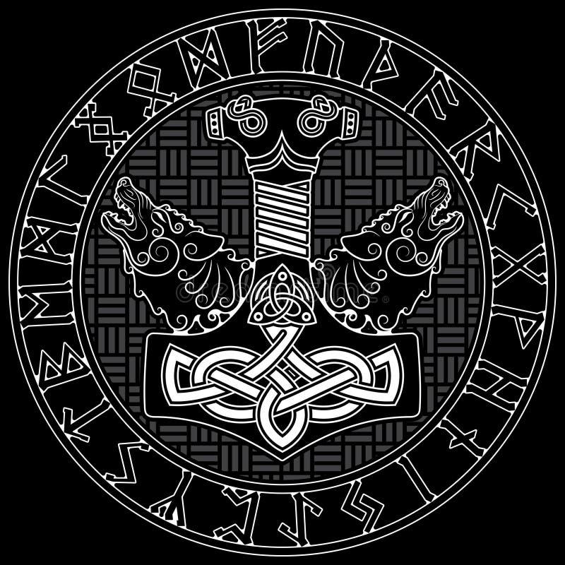 Martelo do Thor s - Mjollnir, o ornamento escandinavo das runas e dois wolfs ilustração royalty free