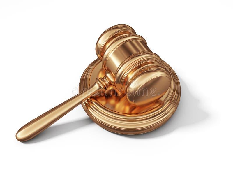 Martelo dourado da lei Conceito legal 3d ilustração do vetor