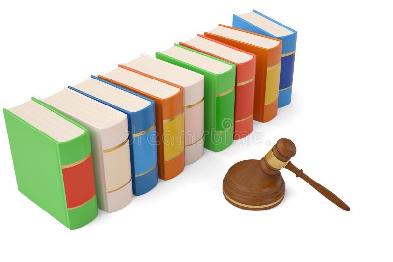 Martelo e livros do leilão no fundo branco ilustração 3D ilustração do vetor