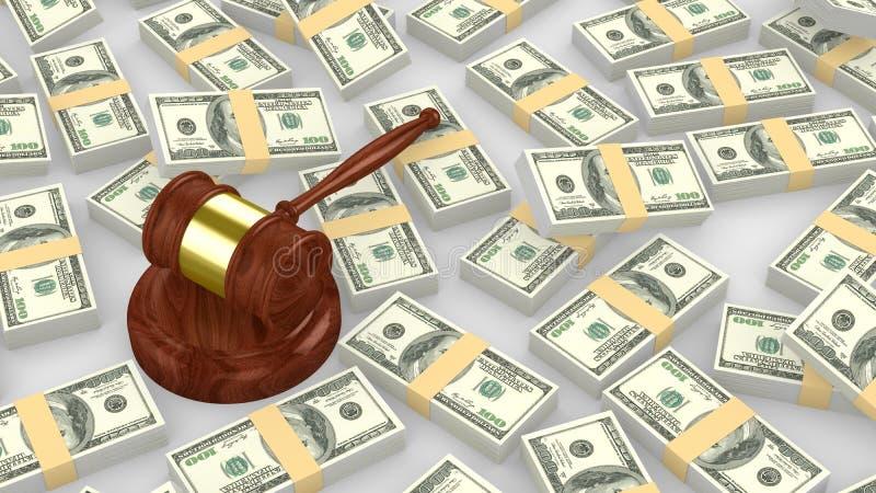 Martelo em uma pilha enorme de dólar americano ilustração royalty free