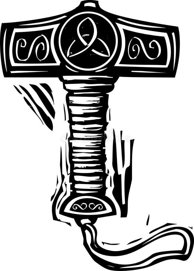 Martelo Mjolnir dos Thors ilustração royalty free