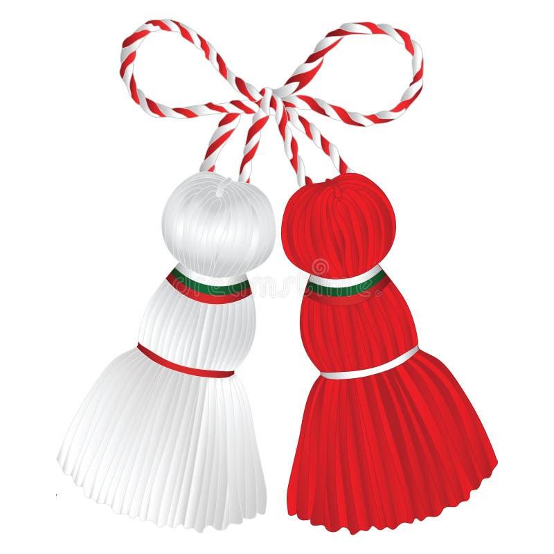 Martenitsa Pizho e Penda decorado com bandeira búlgara ilustração do vetor